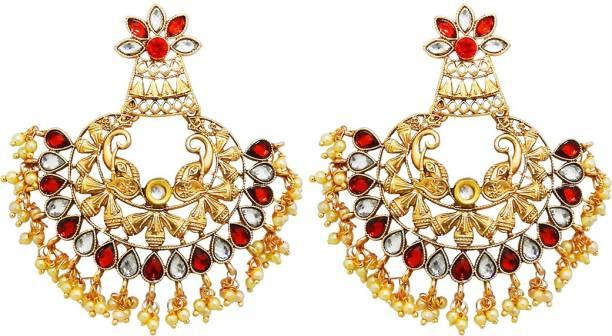 6bd21bdb5 Kriaa by JewelMaze Gold Plated Maroon Austrian Stone Dangler Earrings-1313009B  Alloy Dangle Earring
