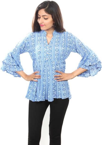7f46801c1ecc1 She Casual Bell Sleeve Printed Women s Blue