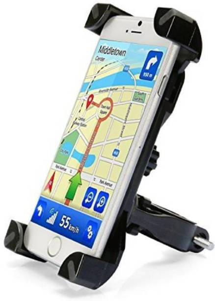 AlexVyan Black 360 Rotation Universal Bike Motorcycle Cycle Bicycle Mount Holder for Phone Mobile Handlebar Mobile Phone Holder Cradle Clamp for 3.5 to 6.5 inch Apple iPhone Samsung Sony LG Vivo Oppo MI Honor Redmi Lenovo Micromax Motorola Nokia HTC All type of Android Smartphone GPS Other Bicycle Phone Holder