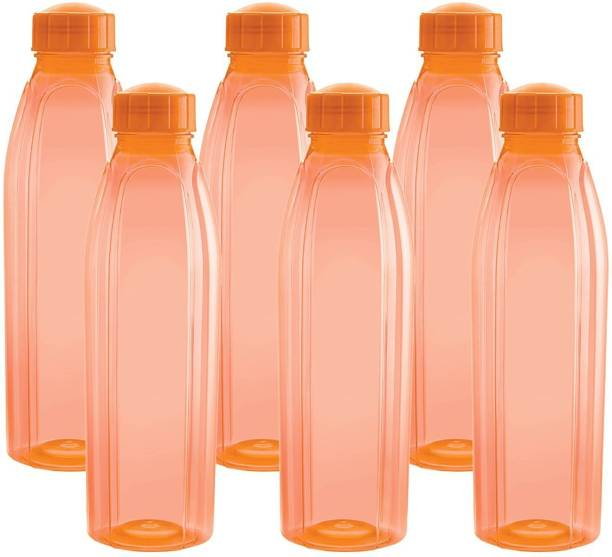 cello Present Pet Texas 1000 ML Set of 6 Orange color with Unbreakable, BPA free, 100% food grade , Freezeer safe, plastic material 1000 ml Bottle