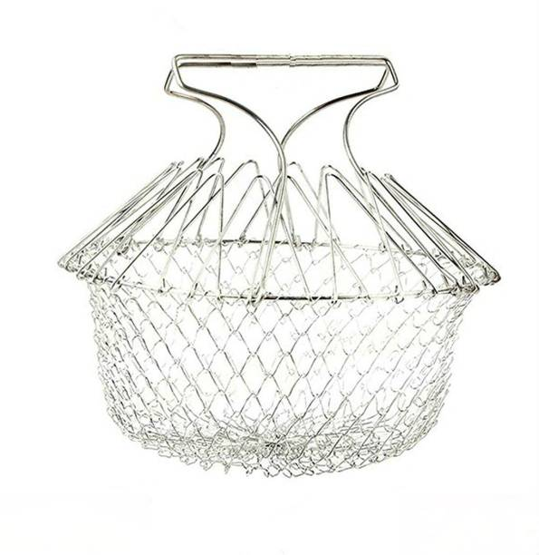 Shrih Chef Basket Deluxe Kitchen Colander Cooking Expandable Collapsible Deep Frying Basket