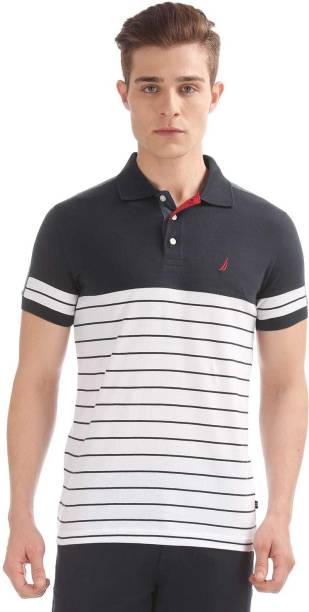 e32a6512 Nautica Striped Men Polo Neck White, Black T-Shirt