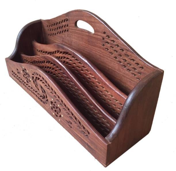 WoodCart 3 Compartments Wooden H@ndmade Letter Holder for Paper, Stationary & Other Office Using Items Holder Jali Design SPL Letter, Magazine & Multi Holder