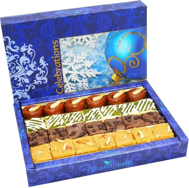 Ghasitaram Gifts Sweets- Assorted Box of Kaju Chocolate Barfi,Mango Bite, Mathura Diya and Besan Barfi Box