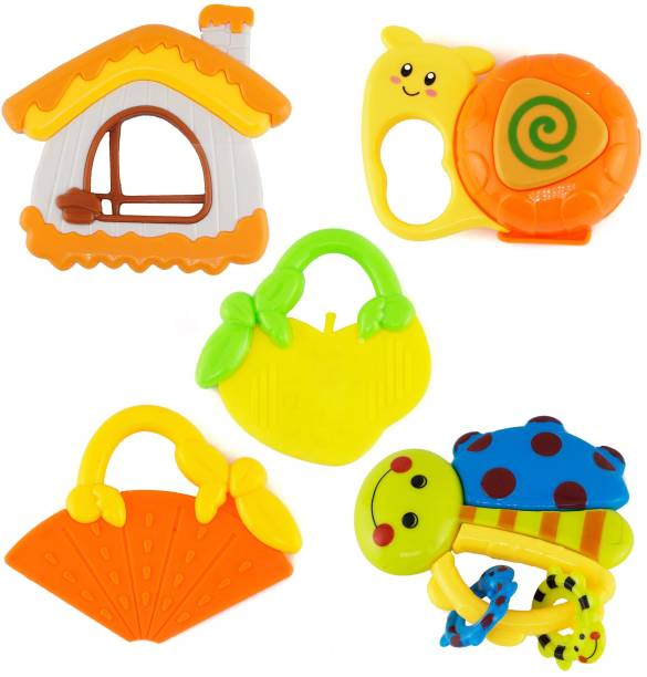 lowest price e8dcf b5ecb Wishkey Baby Rattle and Teether Toys for Infants Non Toxic with Mild sound  Set of 5