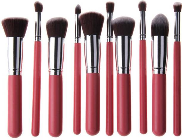 Generic Makeup Brush Set Premium Cosmetics Foundation Blending Blush Eyeliner Face Powder Brush Makeup Brush Kit (10pcs, PINK SILVER)