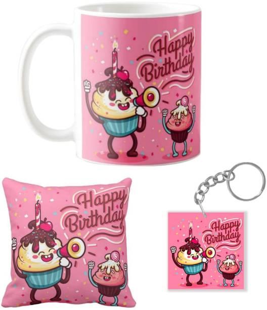 Giftsmate Birthday Gifts Cupcake Happy Mug For Husband Wife Boyfriend Girlfriend Hamper Set