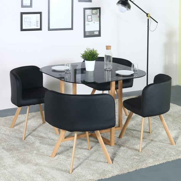 Table & Chair Sets Table Furniture Small Kitchen Table and 2 Chairs Space Saving Dining Compact Black Industrial