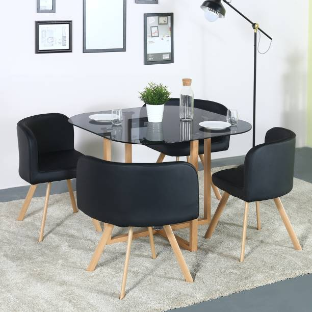 def1eeee993 Flipkart Perfect Homes Atiu Glass 4 Seater Dining Set