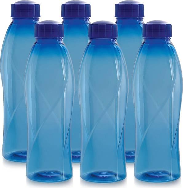 cello present Texas PET 1000 ml BPA free, Leak Proof, Break proof, Crystal clear, 100% food grade, Hygenic, Freezer safe water bottel in set of 6 pcs Blue color 1000 ml Bottle