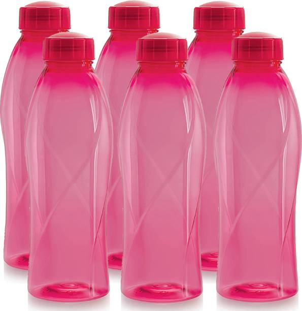 cello present Texas PET 1000 ml BPA free, Leak Proof, Break proof, Crystal clear, 100% food grade, Hygenic, Freezer safe water bottel in set of 6 pcs Pink color 1000 ml Bottle