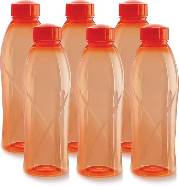 cello present Texas PET 1000 ml BPA free, Leak Proof, Break proof, Crystal clear, 100% food grade, Hygenic, Freezer safe water bottel in set of 6 pcs Orange color 1000 ml Bottle