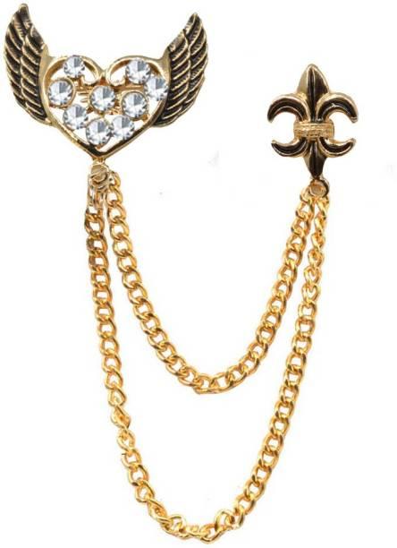d651b68b46cd Sullery Silver Cute Rhinestone Love Heart Wings of Angel Metal Safety Pin  Men Women Broach Brooch