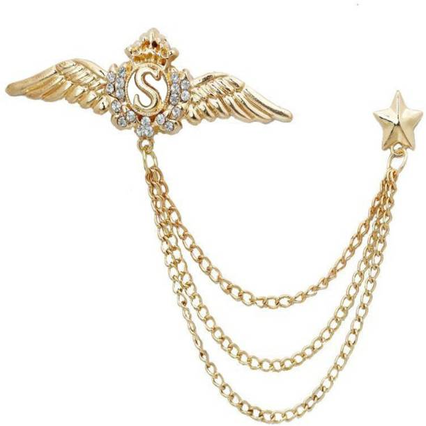 18cf1b88c9d Sullery Angle Wing Star Lapel Pin Men Suit Shirt Corsage Collar Chain Brooch  Gold Brooch