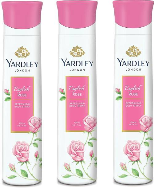 Yardley London Women English Rose 150ML Each (Pack of 3) Deodorant Spray  -  For Women