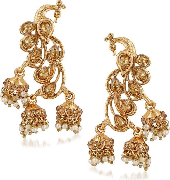 d6910cf083 Meenaz Wedding Bridal Gold Pearl Peacock Kundan Jhumka Jhumki Earrings For Women  Girls Party wear stylish