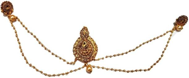 KANDK KREATION GOLD PLATED BUN BACK PIN WITH ATTACHED EARRINGS WITH CHAIN Back Pin
