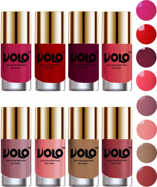 Volo High-Shine Long Lasting Non Toxic Professional Nail Polish Set of 8 Combo-No-41 Light Wine, Tan, Red, Dark Nude, Nudes Spring, Candy Cotton, Passion Pink, Light Pink