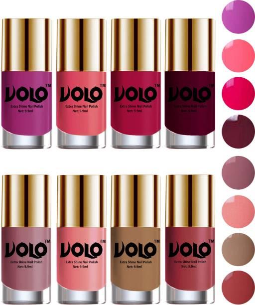 Volo High-Shine Long Lasting Non Toxic Professional Nail Polish Set of 8 Combo-No-18 Tan, Bright Plum, Dark Nude, Nudes Spring, Moon Magenta, Candy Cotton, Wine, Pink Mania
