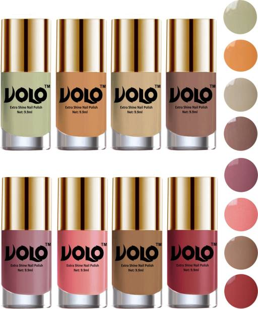 Volo High-Shine Long Lasting Non Toxic Professional Nail Polish Set of 8 Mischievous Mint, Tan, Dark Nude, Nude, Flirty Nude, Nudes Spring, Candy Cotton