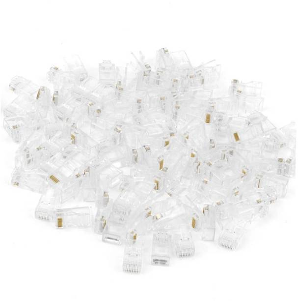 BalRama 100pc NT Gold Plated Cat5 RJ45 Connector Cat5E 8P8C Modular Ethernet Cable Head Plug CCTV Cable Cat5 Connector RJ 45 Plug Connector Professional Quality RJ45 Module Plugs Crimping Networking PACK of 100 Network Interface Card