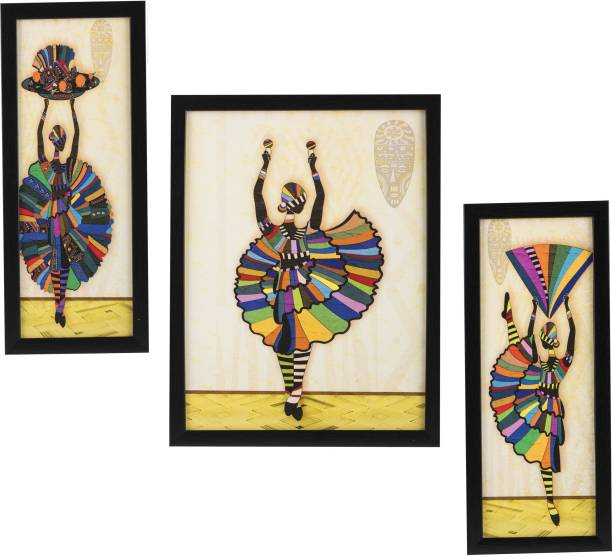 Indianara 3 PC SET OF DANCING ART PAINTINGS WITHOUT GLASS 5.2 X 12.5, 9.5 X 12.5, 5.2 X 12.5 INCH Digital Reprint 13 inch x 10 inch Painting