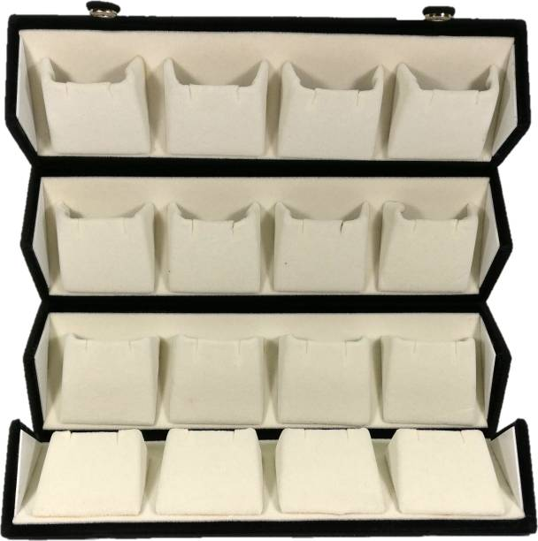 Addyz Large Earring Studs Tops Velvet Folder 16 Pairs Organizer Jewellery Vanity Box