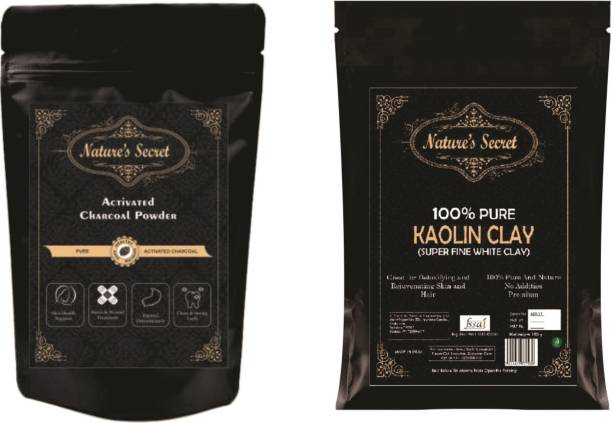 Nature's Secret kaolin clay 250G and activated charcoal 200g for skin and DIY product