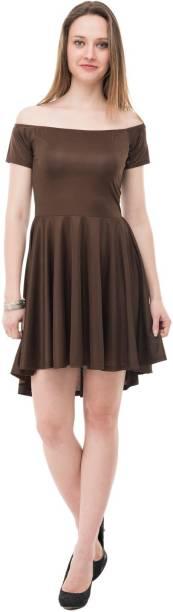 KARMIC VISION Women High Low Brown Dress
