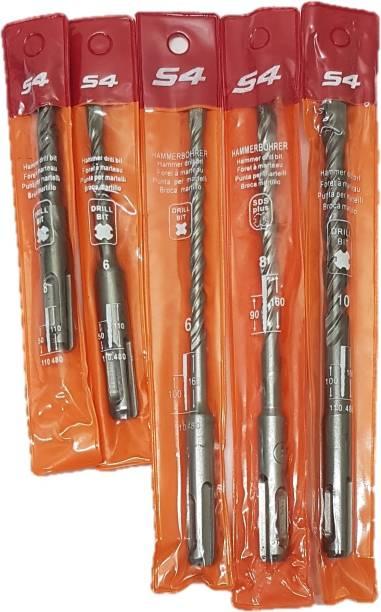 Inditools 5pcs set SDS Rotary Hammer Impact Drill Bit Kit SDS size 6x110mm ,8x110mm , 6x160mm , 8x160mm ,10x160mm