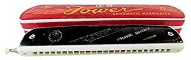 megashine TOWER Mouth Organ/Harmonica 24-Hole 48 tones Key-C With Scale change option Steel and White