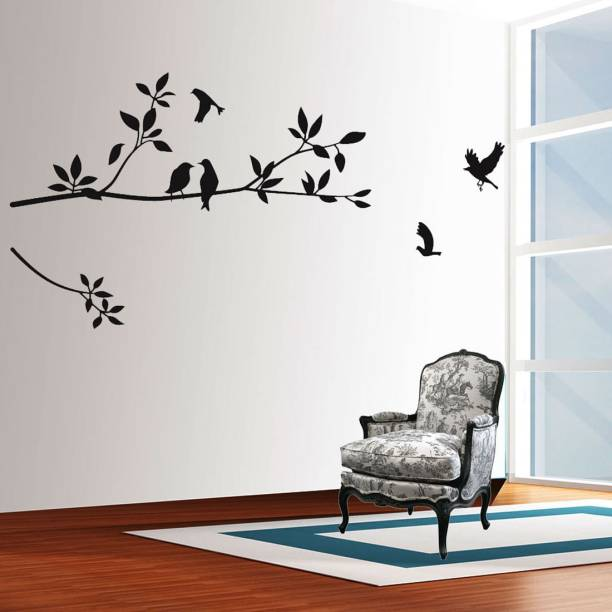walkart Large wallstickers (7592) black branch with black crow