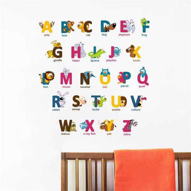 Rawpockets Decals ' Alphabet Letters with Baby Animals ' Large Size Wall Sticker ( Wall Coverage Area - Height 120 cms X Width 40 cms)(Pack of 1 )