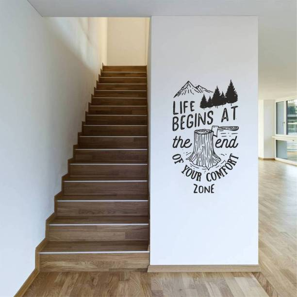 Rawpockets Decals ' Life Begins at The End of Your Comfort Zone ' Large Size Wall Sticker ( Wall Coverage Area - Height 65 cms X Width 40 cms)(Pack of 1 )