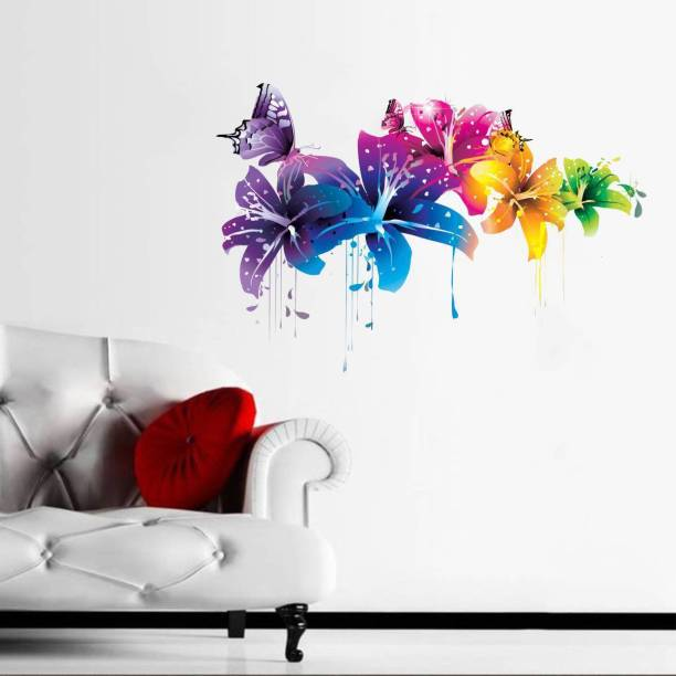 Rawpockets Decals ' Flowers with Butterfly ' Large Size Wall Sticker ( Wall Coverage Area - Height 55 cms X Width 80 cms)(Pack of 1 )