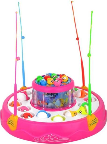 spincart GoGo Fishing Rotating Magnatic Fishing Game With Lights And Music, 26 Fishes And 4 Rods(multi colour)