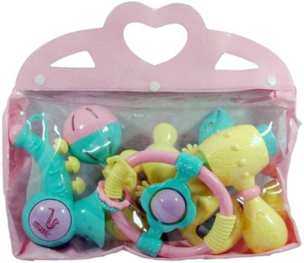 Must Visit Non Toxic Muilty Colour Rattle Set of 6 for Baby Kids With Designer Carry Bag Rattle