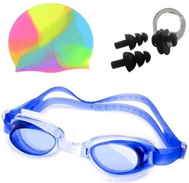 Kamni Sports PREMIUM COMBO 1 SWIMMING CAP, 1 SWIMMING GOGGLE, 1 PAIR EAR PLUG, 1 Pc NOSE PLUG Swimming Kit Swimming Kit