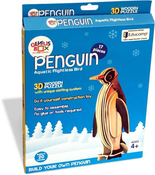 Genius Box Learning and Educational Toys for Children: Penguin, 17 Wooden Piece 3D Puzzle (17 Pieces)