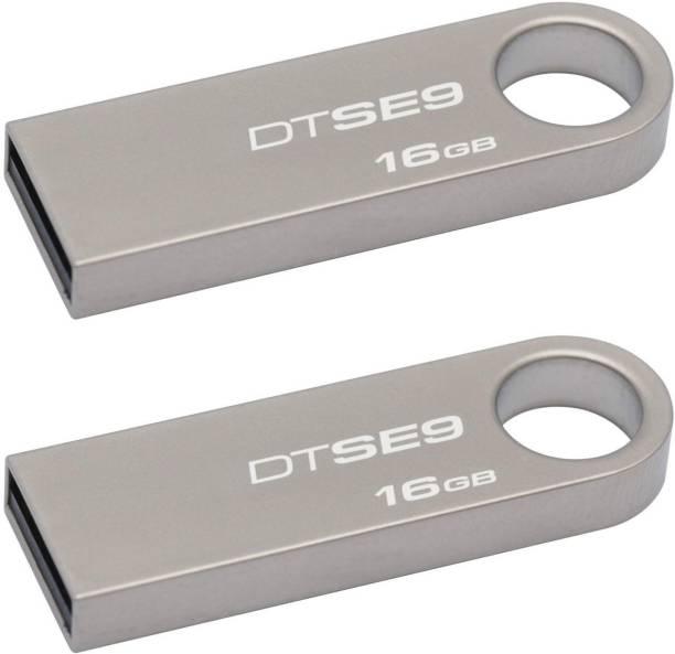 KINGSTON DTSE9 DataTraveler SE9 16GB - Pack Of 2 Pendrive - USB 2.0 16 GB Pen Drive