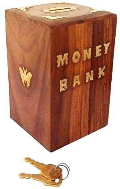 Ydv Toys Special Valentine Day Gift Handmade Wooden Money Bank Square Shape Coin Box