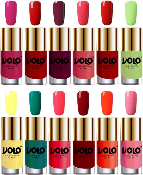 Volo Luxury Super Shine Nail Polish Set of 12 Vibrant Shades Combo-No-190 Light Wine, Coral, Reddish Orange, Red, Passion Pink, Yellow, Radium Green, Carrot Red, Light Pink, Parrot Green