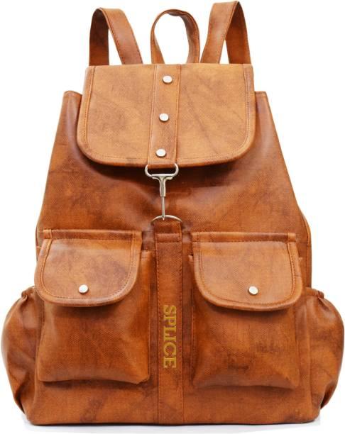 Splice Pu Leather Backpack School Bag Student Women Travel 6 L