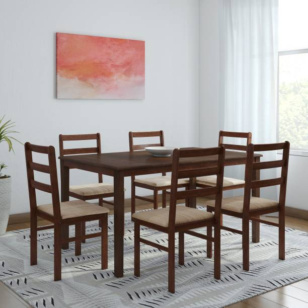 WOODNESS Winston Upholstered Solid Wood 6 Seater Dining Set