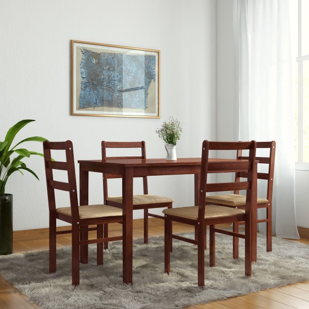 Lovely Woodness Winston Upholstered Solid Wood 4 Seater Dining Set
