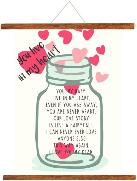 Giftsmate Birthday Anniversary Gift For Boyfriend You Live In My Heart Love Jar Scroll
