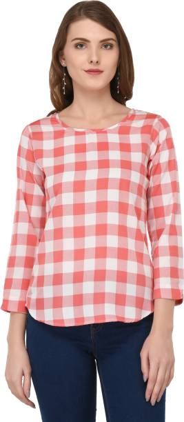 df85142a66143 DARZI Casual 3 4th Sleeve Checkered Women s Multicolor Top