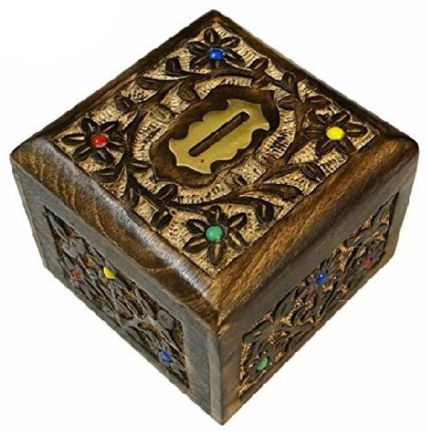 a8124fbe3 Worthy Fancy Shoppee Handmade Wooden Textured Color Money Bank(13x13x10cm) Coin  Bank