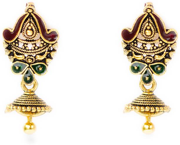 6446e78cd93 Three Shades Indian Traditional club spades style Brass Jhumki Earring