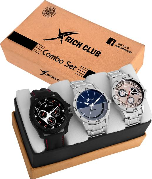 58cd22bf111 Rich Club Combo Of Three Metallic And Leather Super Quality Analog Watch -  For Men